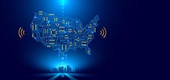 Abstracte communicatienetwerkkaart de V.S. of Amerika als gedrukte kringsraad Slimme stad die aan land wordt verbonden technologi vector illustratie