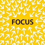 Abstracte conceptuele illustratie die van witte pijlen aan de woord` nadruk ` richten in het centrum vector illustratie