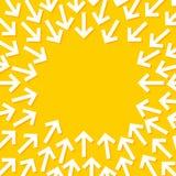 Abstracte conceptuele illustratie die van witte pijlen op het centrum richten vector illustratie