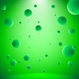 Abstracte conceptuele ruimte met vliegende verlichte ballen stock illustratie