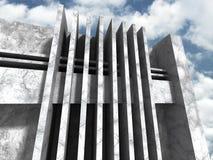 Abstracte concrete architectuur op de achtergrond van de wolkenhemel Royalty-vrije Stock Foto