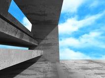Abstracte concrete architectuur op hemelachtergrond Royalty-vrije Stock Foto's