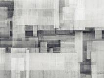 Abstracte concrete muur met chaotisch kubiek patroon royalty-vrije illustratie