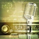 Abstracte correcte grungeachtergrond met microfoon en retro radio Stock Afbeeldingen