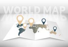 Abstracte creatieve concepten vectorkaart van de wereld voor Web en Mobiele die Toepassingen op achtergrond wordt geïsoleerd Vect Royalty-vrije Stock Foto