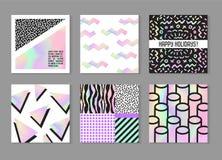 Abstracte Creatieve die Kaartenaffiches met Holografische Elementen worden geplaatst In Hand Getrokken Ontwerp voor Banner, Aanpl Royalty-vrije Stock Foto