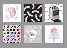 Abstracte Creatieve die Kaartenaffiches met Holografische Elementen worden geplaatst In Hand Getrokken Ontwerp voor Banner, Aanpl Stock Foto's