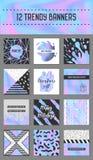Abstracte Creatieve die Kaartenaffiches met Holografische Elementen worden geplaatst In Hand Getrokken Ontwerp voor Banner, Aanpl Stock Foto