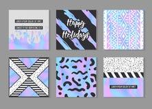 Abstracte Creatieve die Kaartenaffiches met Holografische Elementen worden geplaatst In Hand Getrokken Ontwerp voor Banner, Aanpl Stock Afbeeldingen
