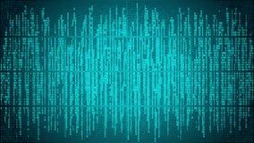 Abstracte cyberspace met digitale lijnen, binaire code, matrijsachtergrond met cijfers Stock Afbeeldingen