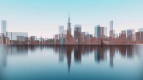 Abstracte 3D de silhouettenbezinning van de stadshorizon 4K stock illustratie