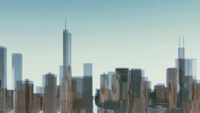 Abstracte 3D de stadsgebouwen van de binnenstad van Chicago vector illustratie