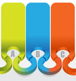 Abstracte 3d etikettenachtergrond met de stappen van kleurenabc Stock Foto
