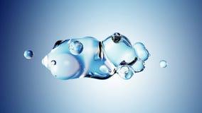 Abstracte 3D geeft illustratie terug - misvormd die cijfer van water op blauwe achtergrond wordt gemaakt vector illustratie