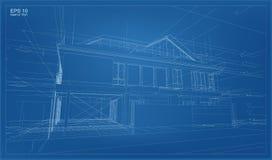Abstracte 3D geeft van de bouw van wireframe structuur terug stock illustratie