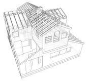 Abstracte 3D geeft van de bouw van wireframe structuur terug Grafische bouw Vindende illustratie van 3d stock illustratie