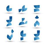 Abstracte 3d geometrische eenvoudige geplaatste symbolen, vector abstracte pictogrammen Royalty-vrije Stock Foto's