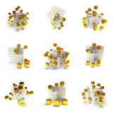 Abstracte 3d geplaatste kubussen Stock Fotografie