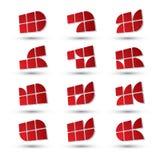 Abstracte 3d geplaatste symbolen, geometrische vectorpictogrammen Royalty-vrije Stock Afbeeldingen