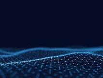 Abstracte 3d het teruggeven futuristische punten en lijnen structuur van de computer de geometrische digitale verbinding Vlecht m Stock Afbeelding