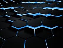 Abstracte 3d illustratie van futuristische hexogonaloppervlakte Achtergrond sc.i-FI met verlichtingszeshoeken 3D Illustratie Stock Foto