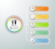 Abstracte 3d infographic 5 opties, Bedrijfs infographic concept Royalty-vrije Stock Foto's