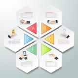 Abstracte 3d infographic 6 opties, Bedrijfs infographic concept Royalty-vrije Stock Fotografie