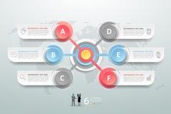 Abstracte 3d infographic 6 opties, Bedrijfs infographic concept Royalty-vrije Stock Afbeelding