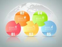 Abstracte 3d infographic 5 opties, Bedrijfs infographic concept Stock Foto's