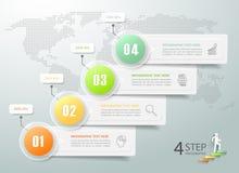 Abstracte 3d infographic 4 opties, Bedrijfs infographic concept Stock Afbeeldingen