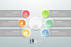 Abstracte 3d infographic 6 opties, Bedrijfs infographic concept Stock Afbeeldingen
