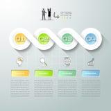 Abstracte 3d infographic 4 opties, Bedrijfsconcepten infographic malplaatje Stock Fotografie