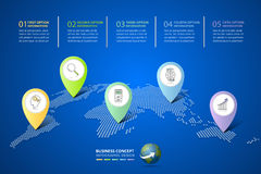Abstracte 3d infographic 5 opties, Bedrijfsconcepten infographic malplaatje Royalty-vrije Stock Afbeelding
