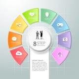 Abstracte 3d infographic 8 opties, Sociaal media infographic concept Stock Afbeelding
