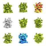 Abstracte 3d kubussen reeks Royalty-vrije Stock Afbeeldingen