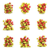 Abstracte 3d kubussen reeks Stock Afbeelding