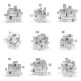 Abstracte 3d kubussen reeks Stock Afbeeldingen