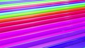 Abstracte 3d naadloze heldere achtergrond in 4k met regenboogbanden Beweging van regenboog multicolored strepen cyclisch in eenvo stock footage