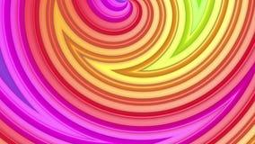 Abstracte 3d naadloze heldere achtergrond in 4k met regenboogbanden Beweging van regenboog multicolored strepen cyclisch in eenvo stock videobeelden