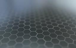 Abstracte 3d oppervlakte met zeshoeken Royalty-vrije Stock Afbeeldingen