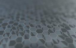 Abstracte 3d oppervlakte met zeshoeken Stock Afbeelding