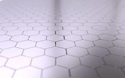 Abstracte 3d oppervlakte met zeshoeken Stock Fotografie