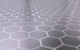 Abstracte 3d oppervlakte met zeshoeken Stock Afbeeldingen