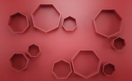 Abstracte 3d rode geometrische achtergrond Witte textuur met schaduw 3d geef terug Royalty-vrije Stock Afbeeldingen