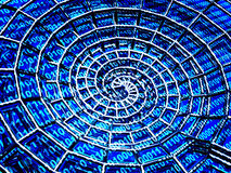 Abstracte 3d spiraalvormige shell van een blauw net Stock Afbeeldingen