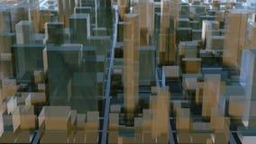 Abstracte 3D stads architecturale achtergrond van de binnenstad royalty-vrije illustratie
