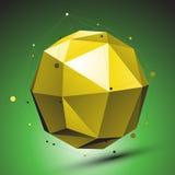 Abstracte 3D structuur, groene vectornetwerkachtergrond, gele sph Stock Afbeeldingen