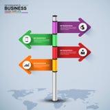 Abstracte 3d voorziet infographic ontwerpmalplaatje van wegwijzers Royalty-vrije Stock Fotografie