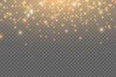 Abstracte dalende gouden lichten Magisch gouden die stof en glans op transparante achtergrond wordt geïsoleerd Feestelijke Kerstm vector illustratie