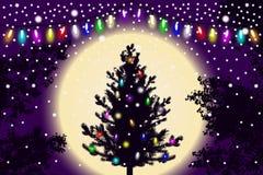 Abstracte dalende sneeuw, nieuwe jaarkerstboom met lichtendecoratie en contour van boombladeren op violette zonsondergangachtergr stock illustratie